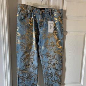 Blue / Gold Jeans by Designer Frank Lyman.